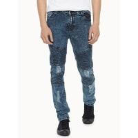 SystvmFaded marbled worn biker jean Skinny fit