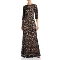 Tadashi ShojiThree-Quarter Sleeve Lace Gown