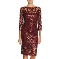Tadashi ShojiThree-Quarter Sleeve Sequin Lace Dress