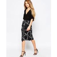 TalulahCrackle Print Midi Skirt - Black