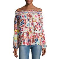 Tanya TaylorNessa Floral Burst Off-the-Shoulder Top, White/Multicolor