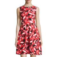 TaylorSleeveless Floral-Print Dress, Red/Black