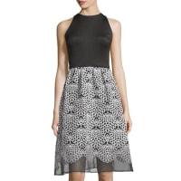 TaylorSleeveless Organza Skirt Dress, Black/White