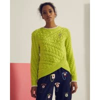 Ted BakerAsymmetric cable knit sweater Lime