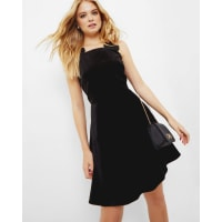 Ted BakerBow strap velvet skater dress Black