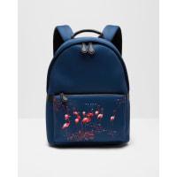 Ted BakerFlamingo print backpack Navy