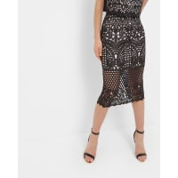 Ted BakerGeo Lace pencil skirt Black