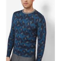 Ted BakerGeo print crew neck sweater Bright Blue