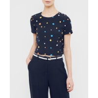 Ted BakerCross back spotted cropped top Navy