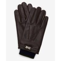 Ted BakerKnitted clip detail leather gloves Black