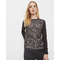 Ted BakerGeo lace front sweater Black