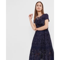 Ted BakerLayered lace midi dress Dark Blue