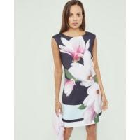 Ted BakerStrukturiertes Kleid mit Magnolia Stripe-Print Marineblau