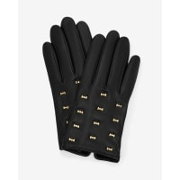 Ted BakerMicro bow leather gloves Black