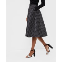 Ted BakerMonochrome grid midi skirt Black