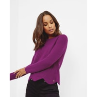 Ted BakerScalloped edge ribbed sweater Deep Purple