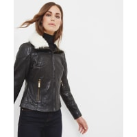 Ted BakerShearling leather jacket Black