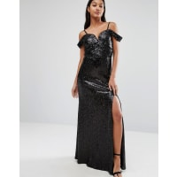 TfncSweetheart Sequin Maxi Dress With Cold Shoulder - Black