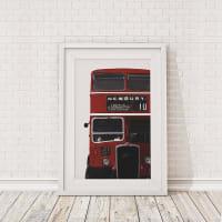 The Binary BoxBritish Bus Cropped Framed Print