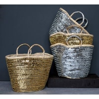 The Forest & Co.Silver And Gold Sequinned Baskets