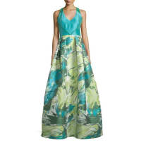 TheiaRacerback Floral Jacquard Ball Gown