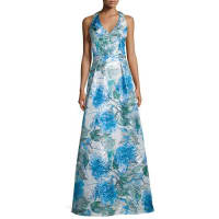 TheiaSleeveless Floral-Print Ball Gown