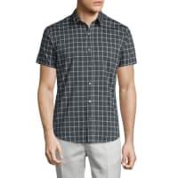 TheoryZack PS Check Short-Sleeve Sport Shirt, Dark Grey