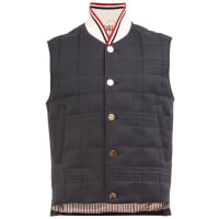 Thom Brownechecked high neck gilet, Mens, Size: 1, Blue, Feather Down/Nylon/Cupro/Cotton
