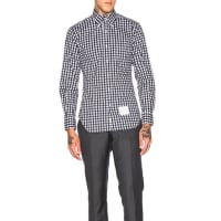 Thom BrowneDobby Check Poplin Shirt in Blue,Checkered & Plaid