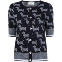 Thom Brownedog intarsia cardigan, Womens, Size: 000, Black, Wool/Cashmere/Silk