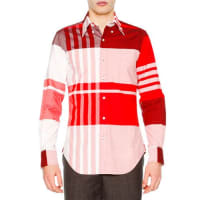 Thom BrowneOversized-Plaid Long-Sleeve Oxford Shirt, Red