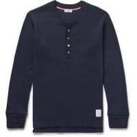 Thom BrowneRibbed Cotton Henley T-shirt - navy