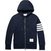 Thom BrowneStriped Loopback Cotton-jersey Zip-up Hoodie - Navy