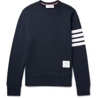 Thom BrowneStriped Loopback Cotton-jersey Sweatshirt - Blue