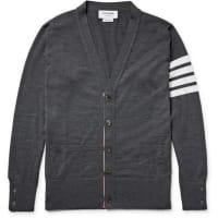 Thom BrowneStriped Wool Cardigan - Dark gray