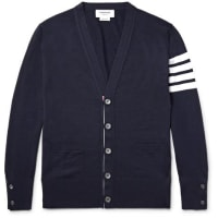 Thom BrowneStriped Wool Cardigan - blue
