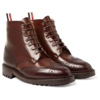 Thom BrowneTwo-tone Leather Brogue Boots - brown