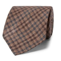 Thom Sweeney8cm Checked Wool And Silk-blend Tie - Brown