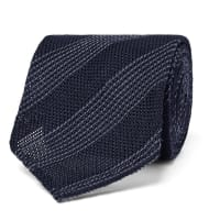 Thom Sweeney8cm Striped Silk And Wool-blend Tie - Midnight blue