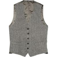 Thom SweeneyGrey Herringbone Wool Waistcoat - Gray