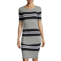 Three DotsShort-Sleeve Striped Ruched Sheath Dress