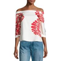 TibiOrla Bloom Off-the-Shoulder Silk Top