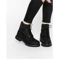 Timberland6 Inch Premium Black Lace Up Flat Boots - Black