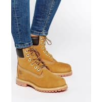 Timberland6 Inch Premium Lace Up Beige Flat Boots - Beige