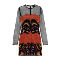 Tom FordMetallic Embroidered Mesh Mini Dress - Bright orange
