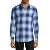 Tom FordPlaid Western Cotton Shirt, Blue