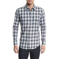 Tom FordWestern-Style Washed Check Sport Shirt, Black