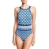 Tommy BahamaShibori High-Neck One-Piece Swimsuit, Blue