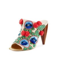 Tory BurchEllis Embroidered Leather Mule, Beige