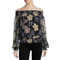 Tory BurchIndie Floral-Print Off-the-Shoulder Silk Blouse, Black